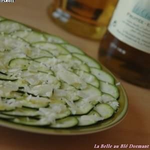 facile à cuisiner Carpaccio de courgette au vinaigre balsamique blanc cuisine végétarienne