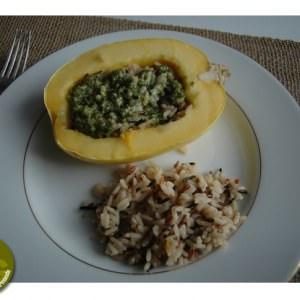 simple à cuisiner Courge d'hiver au parmesan et riz sauvage recette végétarienne