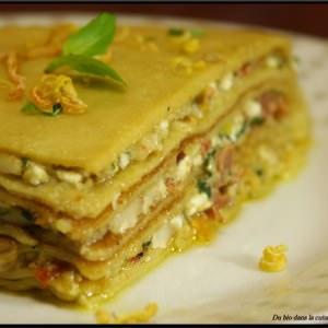 simple à cuisiner Gateau de crêpes pesto et tomates séchées recette végétarienne