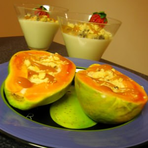 rapide à cuisiner Papaya cottacurd au lait de chèvre et miettes de biscuits,... préparation