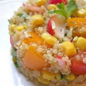 rapide Quinoa en camaieu de jaune,orange,rose et rouge recette