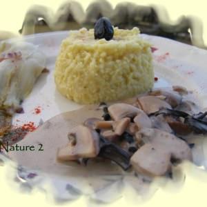 facile Risotto de millet aux olives noires sauce champignons recette