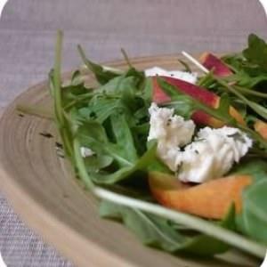 facile à cuisiner Salade de roquette, pêche et mozzarella cuisine végétarienne