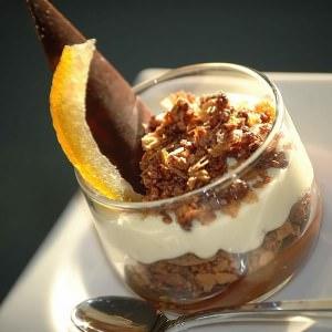 facile à cuisiner Duo de crèmes chocolat et calisson, croustillant praliné cuisiner la recette