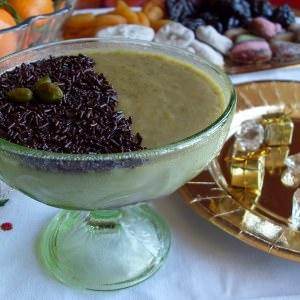rapide à cuisiner Crème à la pistache sur lit de chocolat noir - Vegan préparation