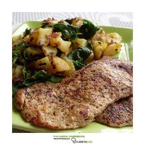 facile Escalopes végétales au poivre et pommes de terre... cuisine végétarienne