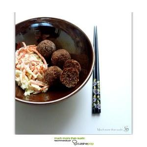 simple à préparer Falafel d'azukis et coleslaw au miso recette végétarienne