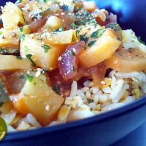 simple à préparer Méli-mélo de riz thaï et lentilles aux légumes recette