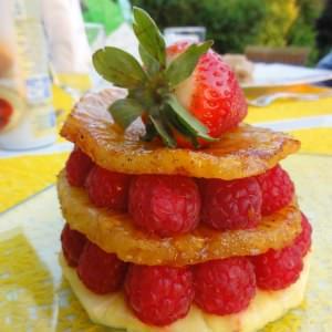rapide Mille-feuille Ananas Framboises recette végétarienne