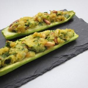 facile à cuisiner Petites courgettes farcies aux pois chiches recette de