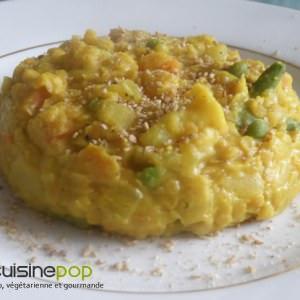 rapide à cuisiner Pilaf de lentilles corail au curcuma recette végétarienne