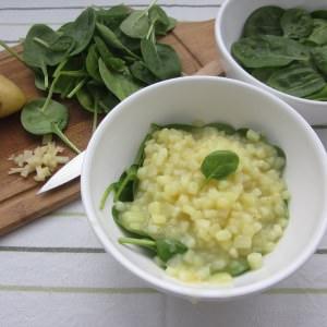 rapide Pomme de terre façon risotto aux jeunes pousses d'épinard préparer la recette