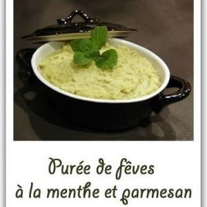 facile Purée de fèves à la menthe et parmesan préparer la recette