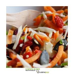 rapide à cuisiner Salade chou blanc carotte et baies recette