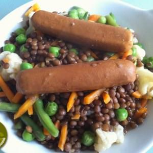 simple à préparer Saucisses-lentilles aux légumes recette de