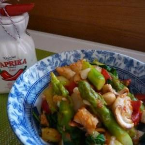 facile à cuisiner Tofu caramélisé et sauté d'asperges recette végétarienne