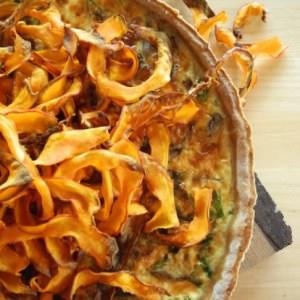 facile Tarte au potimarron et champignons préparation