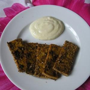 rapide Tofu pané, trempette au yaourt cuisine végétarienne