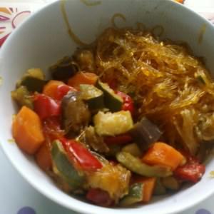 rapide Vermicelles de soja et ses petits légumes recette végétarienne