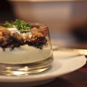 rapide Verrine au panais, champignons des bois et mousse de lait recette végétarienne