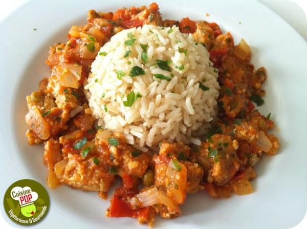 Galettes de soja aux légumes et riz complet