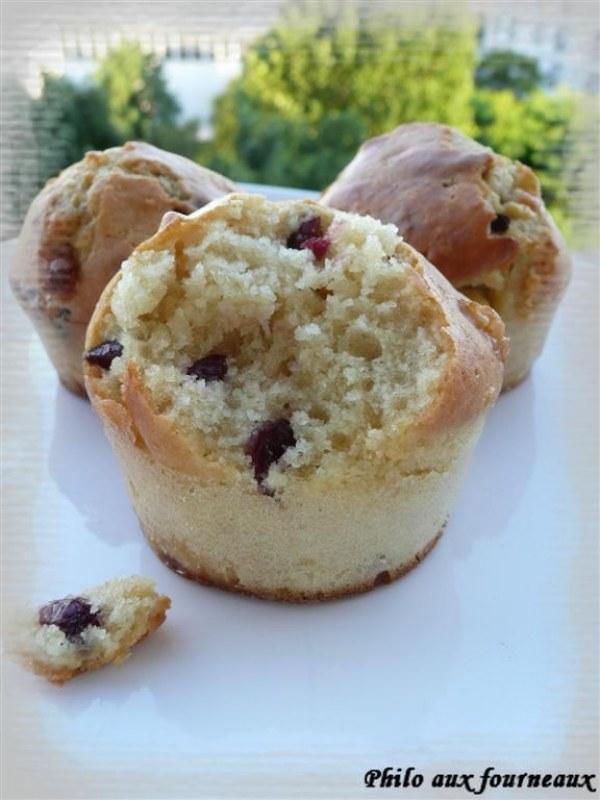 Muffins au chocolat blanc & aux cranberries