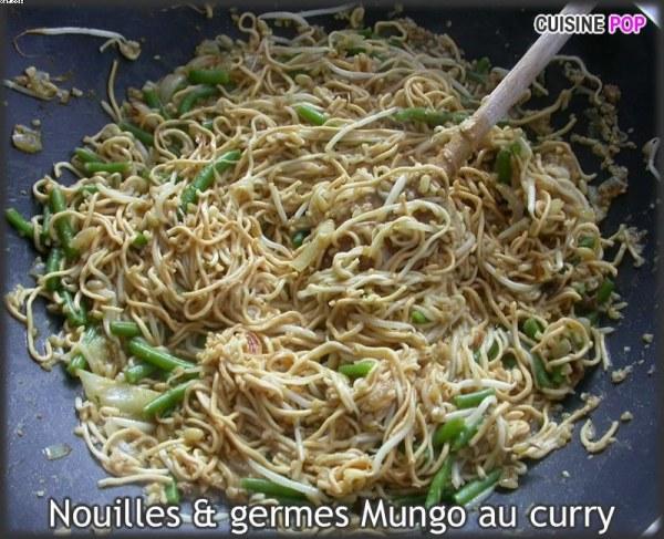 Nouilles et germes mungo au curry