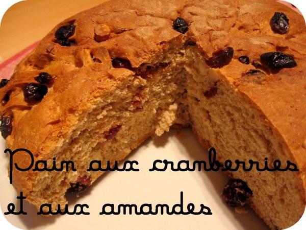 Pain aux cranberries et aux amandes