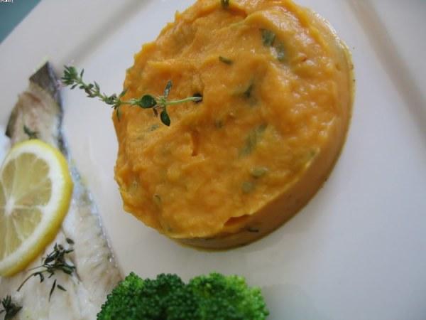 Purée de patate douce et fenouil