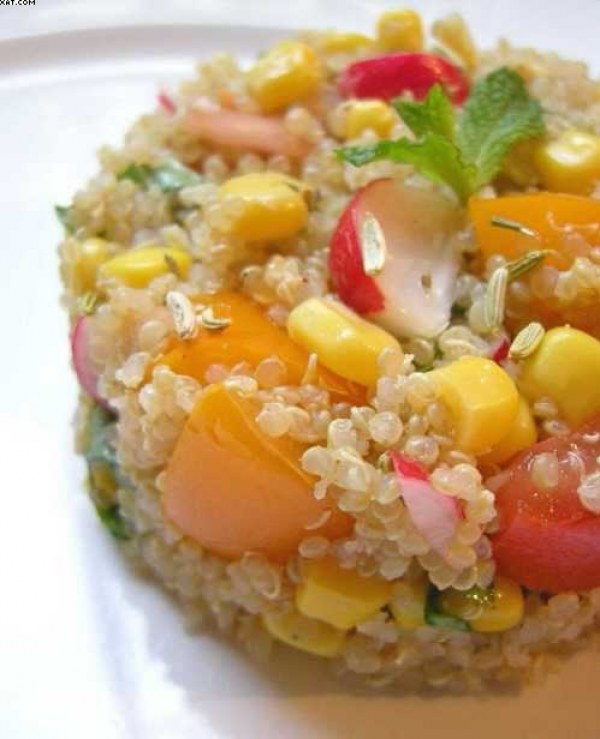 Quinoa en camaieu de jaune,orange,rose et rouge