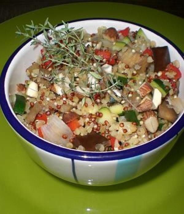 Quinoa rouge et légumes à la parmesane