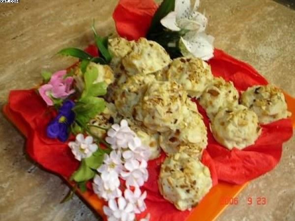 Roses des sable au chocolat blanc et orangettes