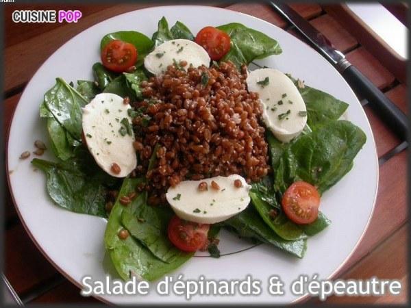 Salade de pousses d'épinards & d'épeautre aux graines