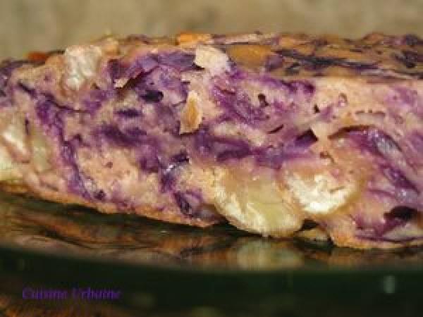 Cake au chou rouge et aux châtaignes sans gluten
