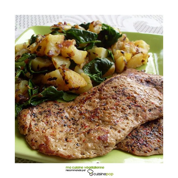 Escalopes végétales au poivre et pommes de terre rissolées aux épinards