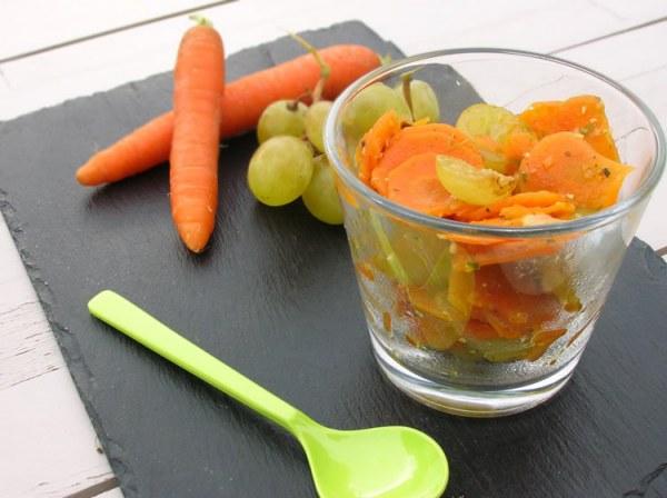 Verrines de carottes aux raisins