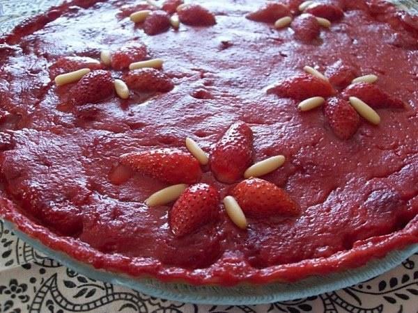 Tarte aux fraises, crème pâtissière au Grand Marnier (Vegan)
