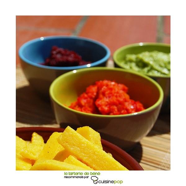 Tartinades betterave, poivrons et guacamole
