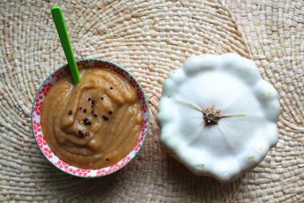 Velouté de pâtisson, marrons et noix de Cajou au café