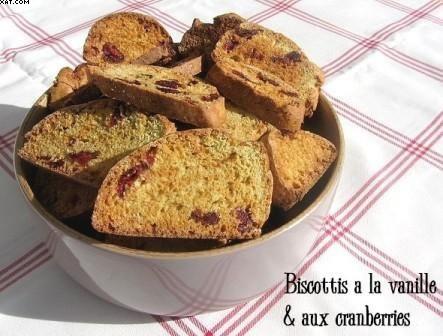 Biscottis à la vanille et aux cranberries