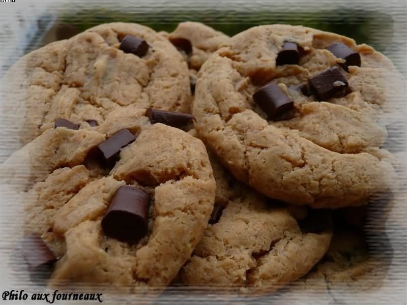 cookies au beurre de cacahu tes aux p pites de chocolat cookies. Black Bedroom Furniture Sets. Home Design Ideas