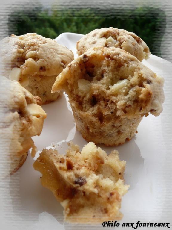 Muffins au chocolat blanc & aux pépites de nougatine