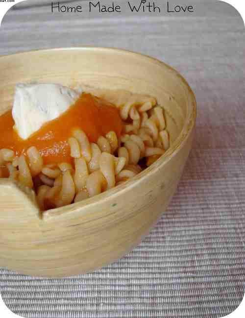 Pâtes spirelli sauce au potiron, sauge et gorgonzola