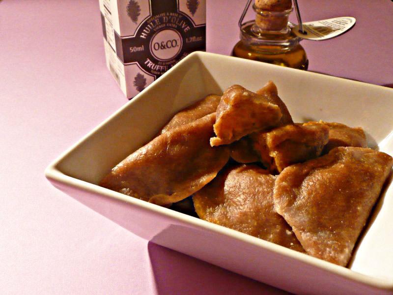 Raviolis de châtaignes aux truffes et potimarron