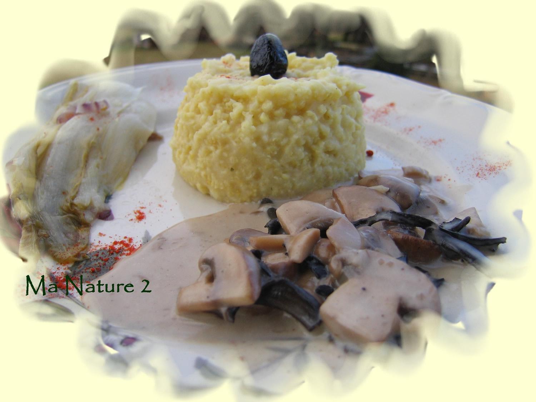 Risotto de millet aux olives noires sauce champignons