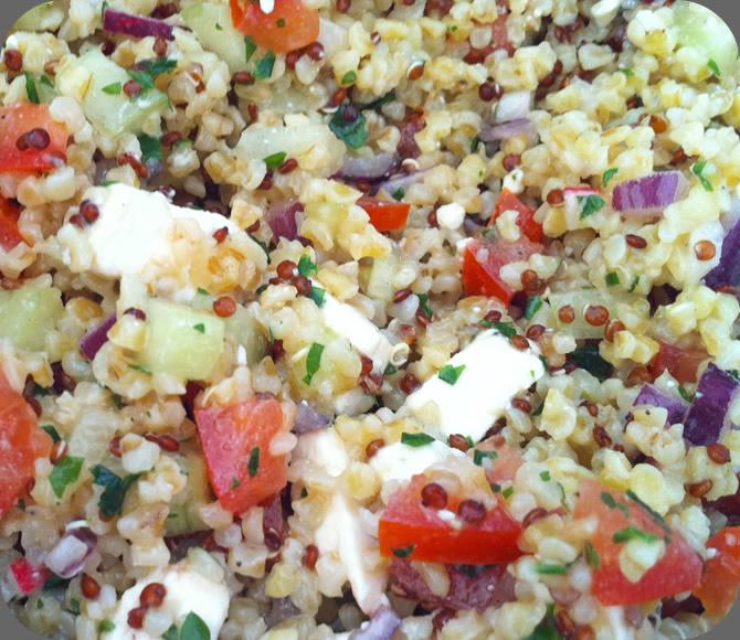 Salade composée quinoa,boulgour