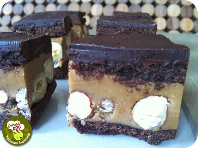 Bouchées chocolatées noisettes-caramel