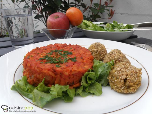 Galette de céréales tomates,coriandre