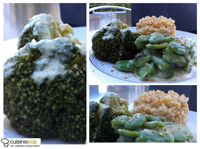 Céréales aux fèves et brocolis - crème d'amande à la moutarde