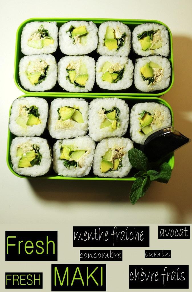 Fresh MAKI : Menthe fraiche/Chèvre frais/Concombre/Avocat/Cumin